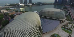 Stock Video Footage of aerial over Esplanade and Marina Bay