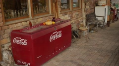 Eldorado Canyon mine tours.Souvenir shop. Old fridge Coca - Cola Stock Footage