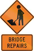 Road sign assembly in New Zealand - Bridge repairs - stock illustration