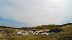 Midden OF Ejected Domestic Garbage At Rural Field Stock Footage
