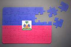 puzzle with the national flag of haiti - stock photo