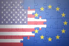 Stock Photo of puzzle with the national flags of united states of america and european union