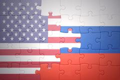 Puzzle with the national flags of united states of america and russia Kuvituskuvat