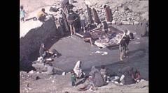 Vintage 16mm film, 1970, Iran, washing Persian rugs, medium Stock Footage