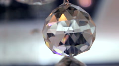 Glass faceted ball, polished edge. - stock footage