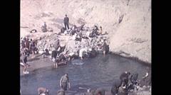 Vintage 16mm film, 1970, Iran, washing Persian rugs #4 Stock Footage
