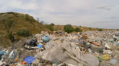 Large Garbage And Wastes Dump Outside City Stock Footage