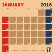 January 2016 monthly calendar template - stock illustration