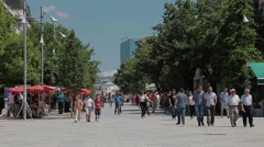 Mother Teresa street in Pristina Stock Footage