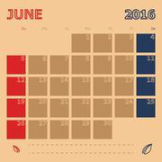 June 2016 monthly calendar template Stock Illustration