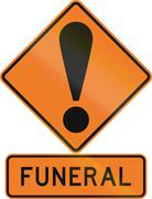 Road sign assembly in New Zealand - Funeral - stock illustration