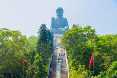 Giant buddha in hong kong - stock photo