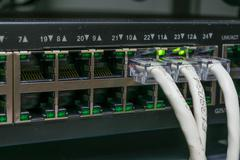 Network switch and LAN Line Stock Photos