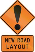 Road sign assembly in New Zealand - New road layout - stock illustration