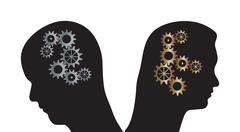 Man and woman vector silhouettes with cogs in heads - stock illustration