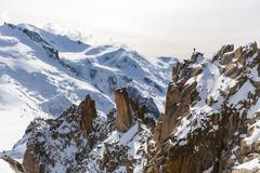 Aiguille du Midi, Mont Blanc, France, Beautiful Sunrise Over Mountain Landscape, - stock photo