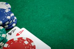 Poker two aces, place for text Stock Photos