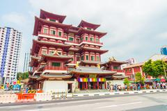 Stock Photo of Beautiful Buddha tooth temple at singapore