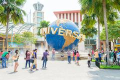 SINGAPORE - November 7: Tourists and theme park visitors Attraction in Univer Stock Photos