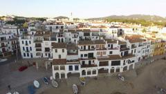 Mediterranean Village Vertical High Aerial Shoot Stock Footage