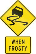 Road sign assembly in New Zealand - Slippery when frosty - stock illustration