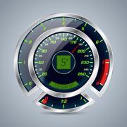 Metallic speedometer with big rev counter - stock illustration