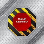 Stock Illustration of Industrial design with tire track and trailer air supply knob