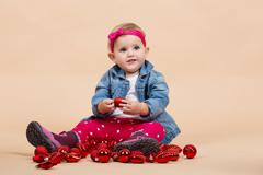One year baby portrait Stock Photos