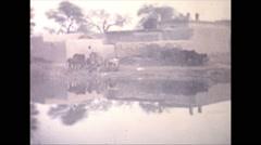 Vintage 16mm film, 1970, Pakistan, Peshawar, rural brick works Stock Footage