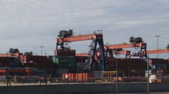 Automated Stacking Cranes (ASC) at container terminal ROTTERDAM Stock Footage