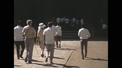 Vintage 16mm film, 1970, India, people at historic site Stock Footage