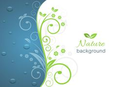 Nature illustration with spiral swirly pattern, water drops and space for you - stock illustration