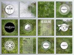 Set of 12 creative cards, square brochure template design. Nature landscape Stock Illustration