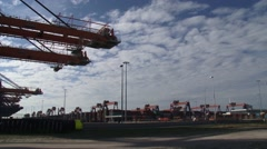 Euromax container terminal, gantry cranes + Automated Stacking Cranes (ASC) Stock Footage