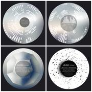 Set of 4 music album cover templates. Abstract vector backgrounds - stock illustration