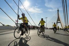 Unidentified Thai cyclists at Bike for the King event in Bangkok, Thailand - stock photo