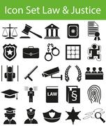 Icon Set Law and Justice - stock illustration