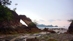 Beautiful sunset evening scene if Andaman sea. Island beach in Ranong Thailand Stock Footage