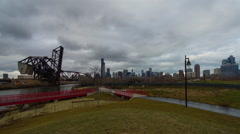Chicago skyline from Ping Tom Memorial Park. Stock Footage