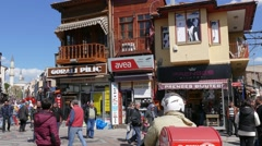 Old shopping street of the city of Edirne, Turkey. Stock Footage