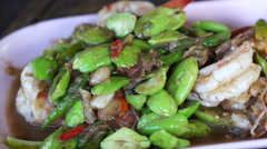 Thai traditional food shrimp fries with parkia. Healthy herb Thai cuisine Stock Footage