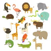 Cute Woodland and Jungle Animals Vector Set Piirros