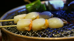 Scallops on screwers with charcoal seafood barbecue Stock Footage