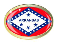 Arkansas State Flag Oval Button - stock illustration