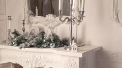 Christmas decoration white fireplace - stock footage