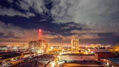 Downtown Los Angeles city skyline night storm clouds lightning strikes 4K UHD - stock footage