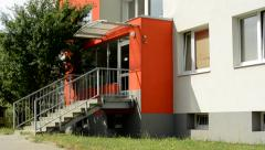 View of the modern prefab house with entrance and stairs - close up Stock Footage