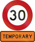 Road sign assembly in New Zealand - Temporary speed limit - stock illustration