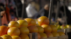 Citrus fruit, marketplace stall Stock Footage