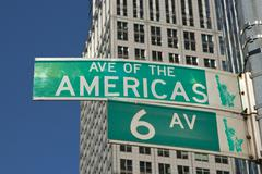 Sign of Sixth Avenue in Manhattan (NYC, USA) - stock photo